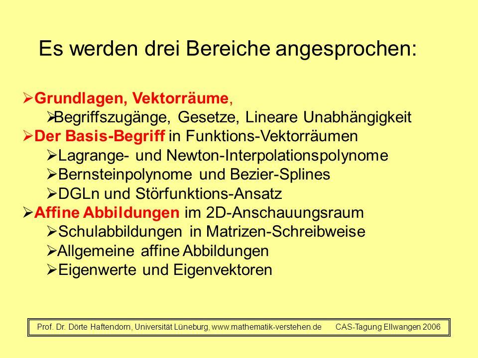 Es werden drei Bereiche angesprochen: Prof. Dr. Dörte Haftendorn, Universität Lüneburg, www.mathematik-verstehen.de CAS-Tagung Ellwangen 2006  Grundl