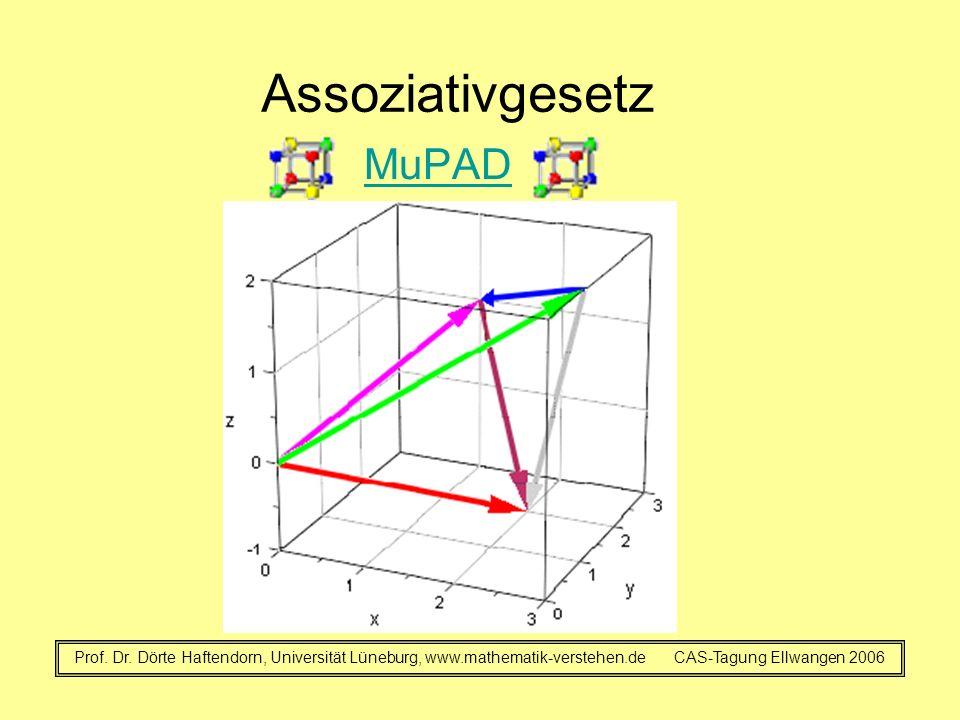 Assoziativgesetz MuPAD Prof. Dr. Dörte Haftendorn, Universität Lüneburg, www.mathematik-verstehen.de CAS-Tagung Ellwangen 2006