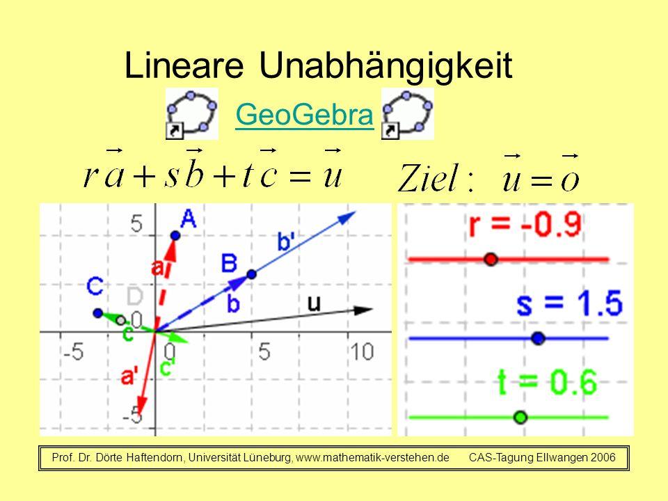 Lineare Unabhängigkeit GeoGebra Prof. Dr. Dörte Haftendorn, Universität Lüneburg, www.mathematik-verstehen.de CAS-Tagung Ellwangen 2006