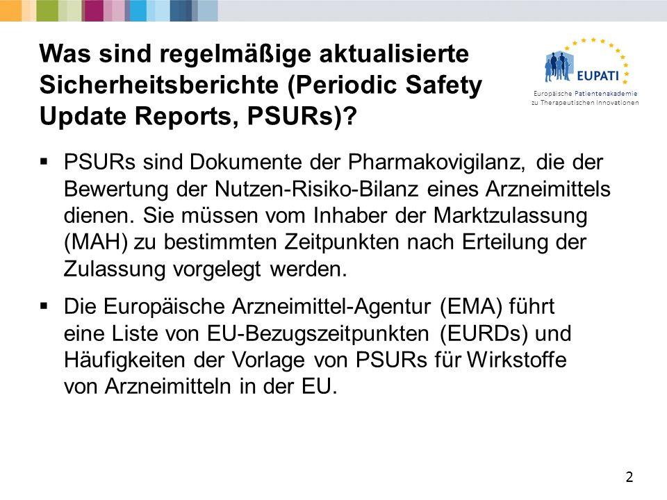 Europäische Patientenakademie zu Therapeutischen Innovationen  PSURs sind Dokumente der Pharmakovigilanz, die der Bewertung der Nutzen-Risiko-Bilanz eines Arzneimittels dienen.