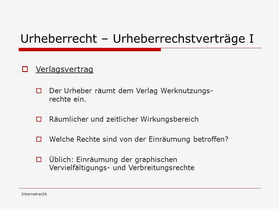 Internetrecht Urheberrecht – Urheberrechstverträge I  Verlagsvertrag  Der Urheber räumt dem Verlag Werknutzungs- rechte ein.  Räumlicher und zeitli