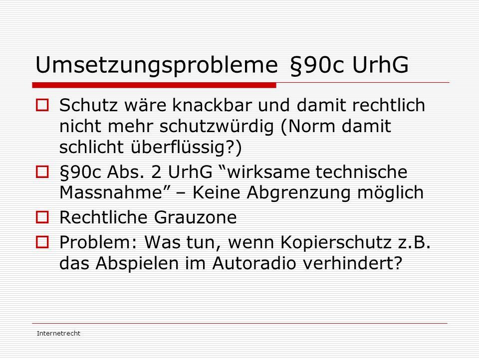 Internetrecht Umsetzungsprobleme §90c UrhG  Schutz wäre knackbar und damit rechtlich nicht mehr schutzwürdig (Norm damit schlicht überflüssig?)  §90