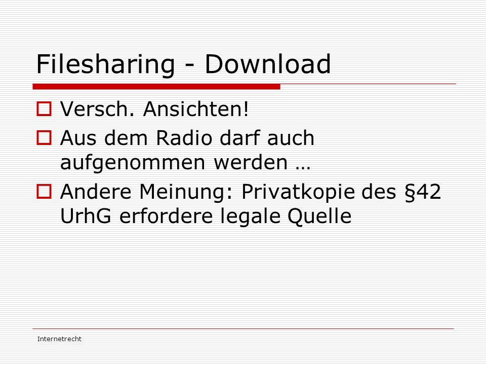 Internetrecht Filesharing - Download  Versch. Ansichten!  Aus dem Radio darf auch aufgenommen werden …  Andere Meinung: Privatkopie des §42 UrhG er