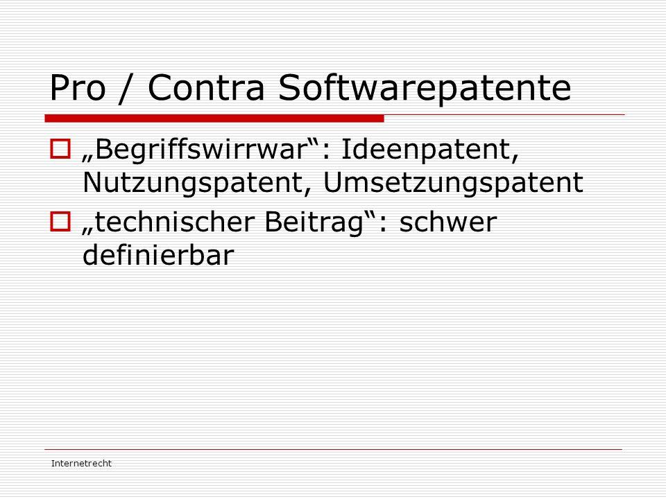"""Internetrecht Pro / Contra Softwarepatente  """"Begriffswirrwar"""": Ideenpatent, Nutzungspatent, Umsetzungspatent  """"technischer Beitrag"""": schwer definier"""