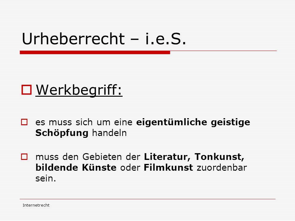 Internetrecht Urheberrecht – i.e.S.