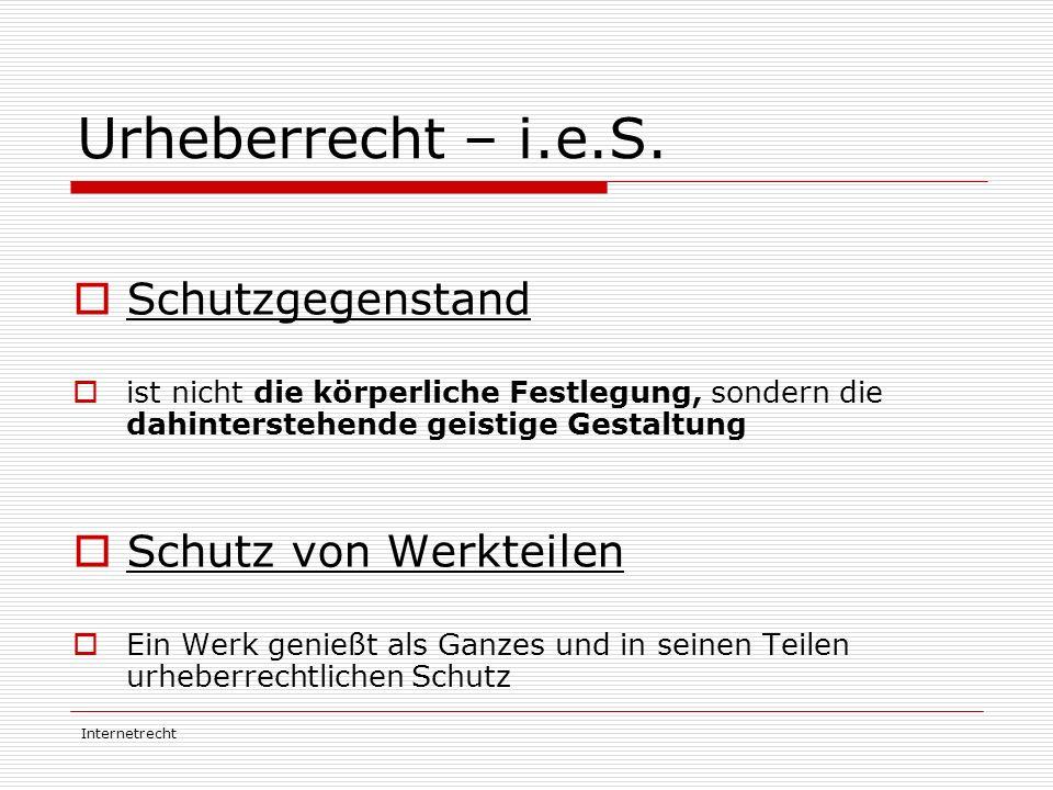 Internetrecht Literatur/Links  http://www.akm.co.at/index.php?content=service%2 Furheberrecht%2Findex.php http://www.akm.co.at/index.php?content=service%2 Furheberrecht%2Findex.php  http://de.wikipedia.org/wiki/Urheberrecht http://de.wikipedia.org/wiki/Urheberrecht  http://de.wikipedia.org/wiki/Copyright http://de.wikipedia.org/wiki/Copyright  www.bmbwk.gv.at/medienpool/10109/FAQ- Sammlung.pdf www.bmbwk.gv.at/medienpool/10109/FAQ- Sammlung.pd  www.jusline.at/juslineat/hlp/urhg/urhga.html www.jusline.at/juslineat/hlp/urhg/urhga.html  www.oeaw.ac.at/personalwesen/e-urheberrecht.html www.oeaw.ac.at/personalwesen/e-urheberrecht.html  www.rechtsfreund.at/urheberrecht.htm www.rechtsfreund.at/urheberrecht.htm  Informatikrecht, 2.