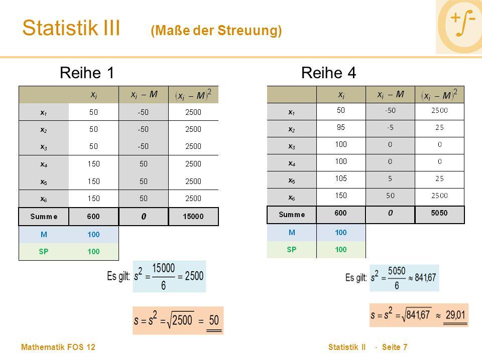 Mathematik FOS 12 Statistik II · Seite 8 Statistik III (Maße der Streuung) Reihe 2