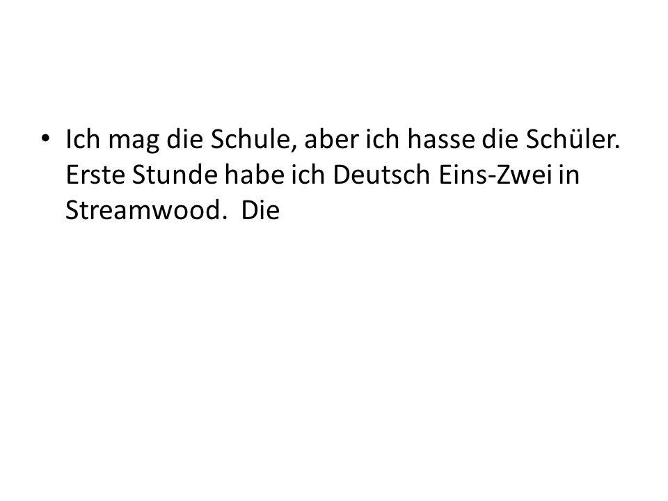 Ich mag die Schule, aber ich hasse die Schüler. Erste Stunde habe ich Deutsch Eins-Zwei in Streamwood. Die
