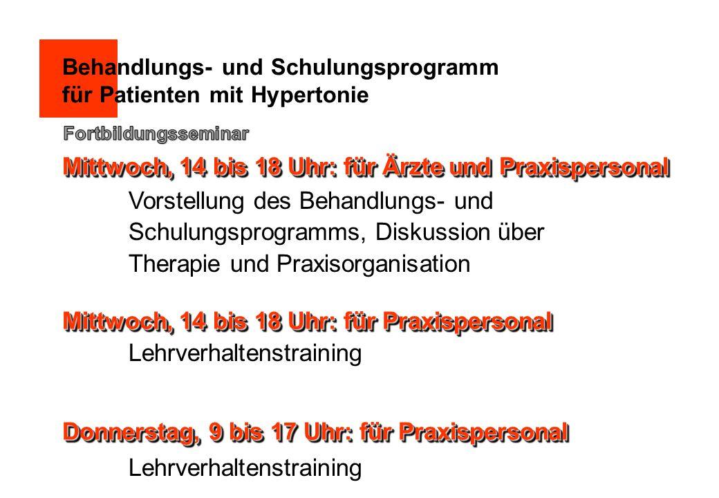 Behandlungs- und Schulungsprogramm für Patienten mit Hypertonie Vorstellung des Behandlungs- und Schulungsprogramms, Diskussion über Therapie und Prax