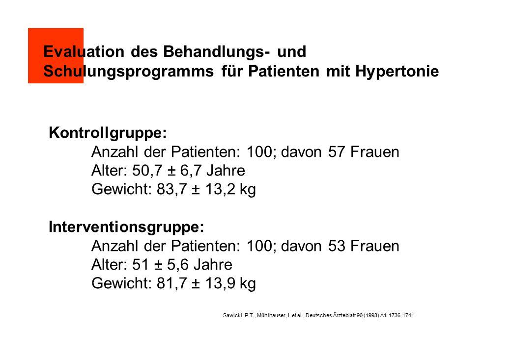 Evaluation des Behandlungs- und Schulungsprogramms für Patienten mit Hypertonie Kontrollgruppe: Anzahl der Patienten: 100; davon 57 Frauen Alter: 50,7