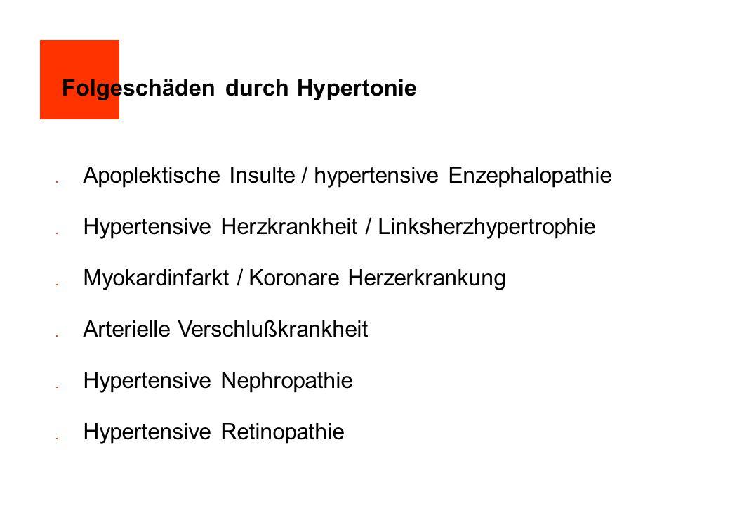 Folgeschäden durch Hypertonie  Apoplektische Insulte / hypertensive Enzephalopathie  Hypertensive Herzkrankheit / Linksherzhypertrophie  Myokardinf