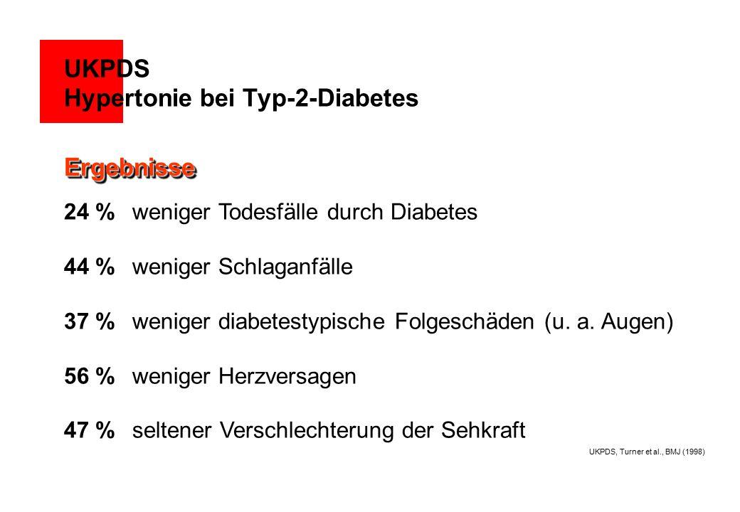 24 % weniger Todesfälle durch Diabetes 44 % weniger Schlaganfälle 37 % weniger diabetestypische Folgeschäden (u. a. Augen) 56 % weniger Herzversagen 4