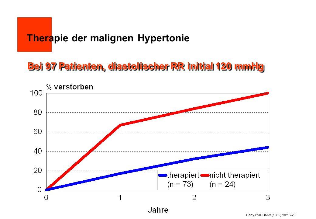 Australische Hypertonie-Studie  3427 Patienten, mittleres Alter: 50 Jahre RR diastolisch: 95 bis <110 mmHg keine Antihypertensiva, kein Diabetes  Placebo (n=1706), diastolischer RR initial 100,3 mmHg Antihypertensiva (n=1721), diastolischer RR initial 100,4 meist Saluretika und ß-Blocker  diastolischer RR nach drei Jahren: Placebo: 93,9 mmHg Antihypertensiva: 88,3 mmHg The Australian therapeutic trial in mild hypertension, Lancet 1 (1980): 1261-1267