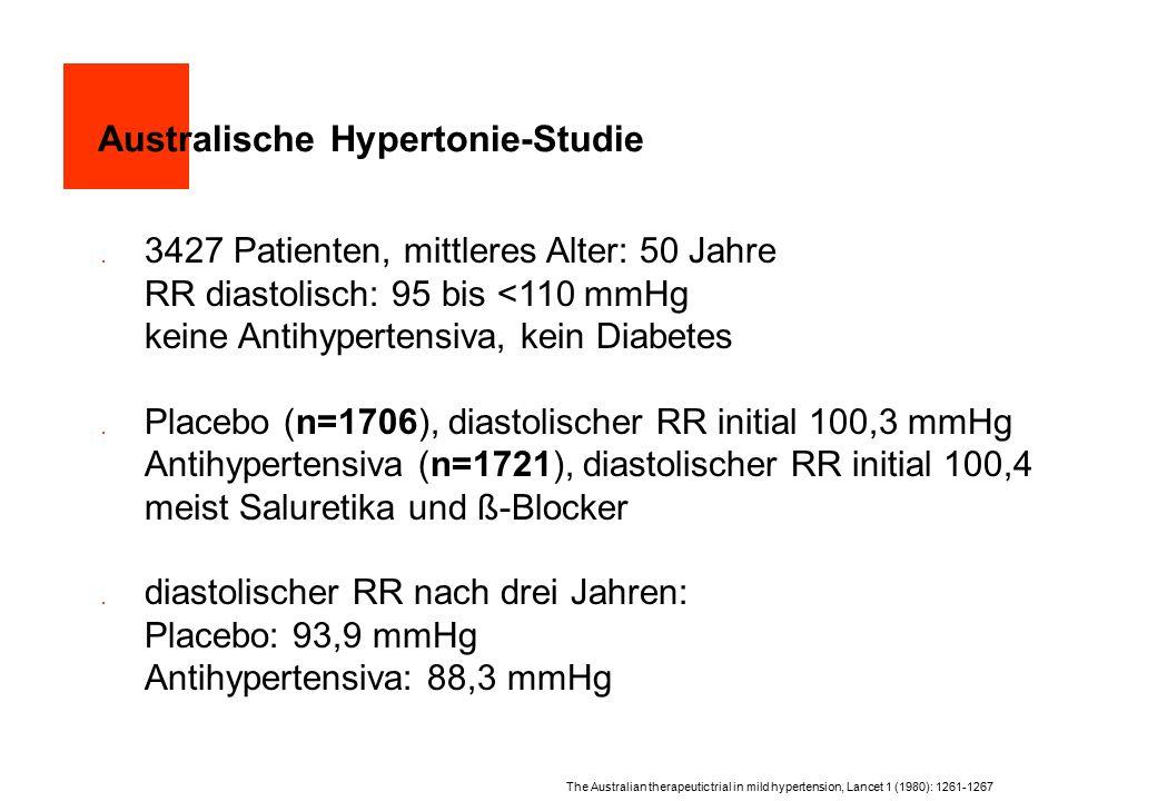 Australische Hypertonie-Studie  3427 Patienten, mittleres Alter: 50 Jahre RR diastolisch: 95 bis <110 mmHg keine Antihypertensiva, kein Diabetes  Pl