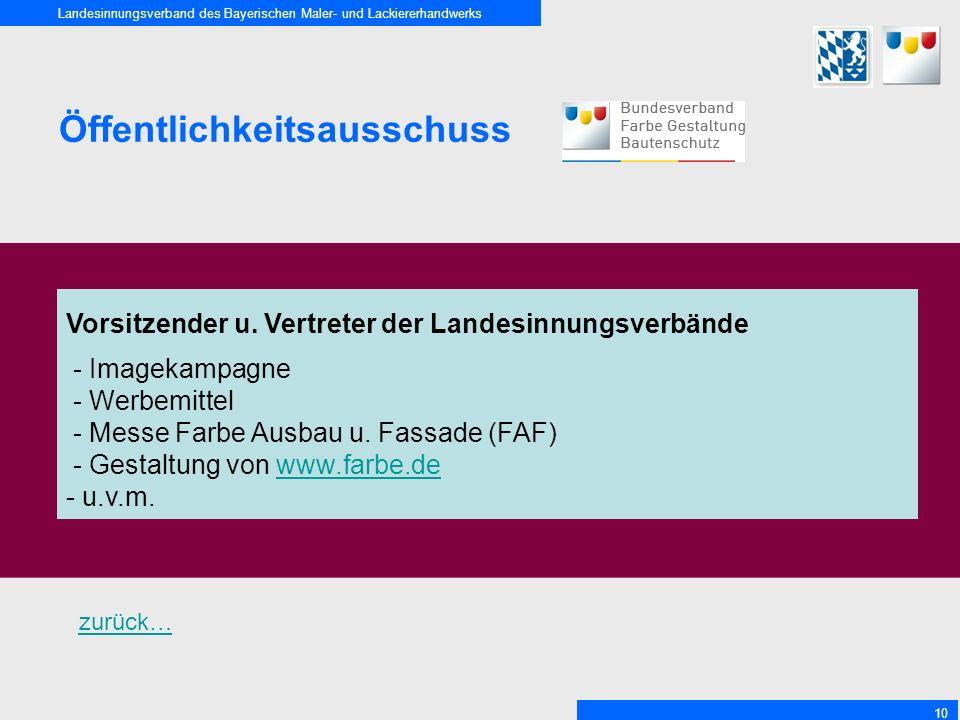 Landesinnungsverband des Bayerischen Maler- und Lackiererhandwerks 10 Öffentlichkeitsausschuss Vorsitzender u. Vertreter der Landesinnungsverbände - I