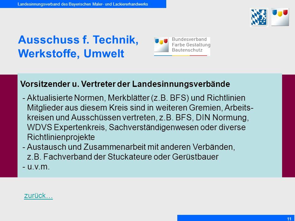 Landesinnungsverband des Bayerischen Maler- und Lackiererhandwerks 11 Ausschuss f. Technik, Werkstoffe, Umwelt Vorsitzender u. Vertreter der Landesinn
