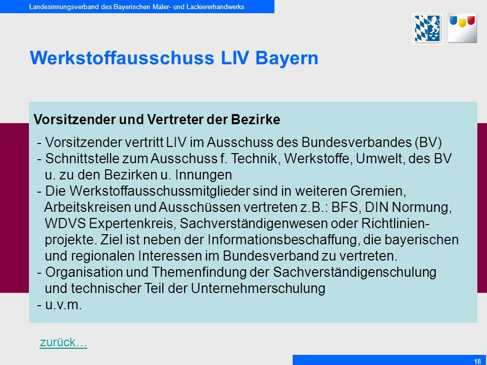Landesinnungsverband des Bayerischen Maler- und Lackiererhandwerks 18 Werkstoffausschuss LIV Bayern Vorsitzender und Vertreter der Bezirke - Vorsitzender vertritt LIV im Ausschuss des Bundesverbandes (BV) - Schnittstelle zum Ausschuss f.