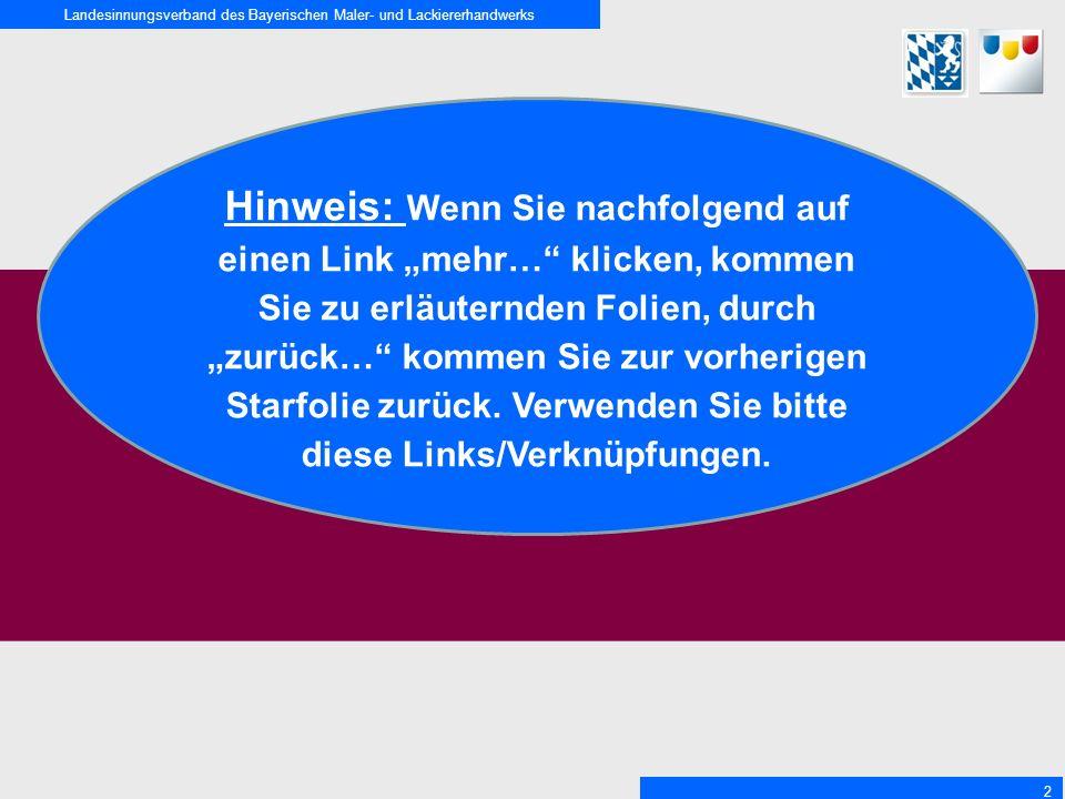 """Landesinnungsverband des Bayerischen Maler- und Lackiererhandwerks 2 Hinweis: Wenn Sie nachfolgend auf einen Link """"mehr… klicken, kommen Sie zu erläuternden Folien, durch """"zurück… kommen Sie zur vorherigen Starfolie zurück."""