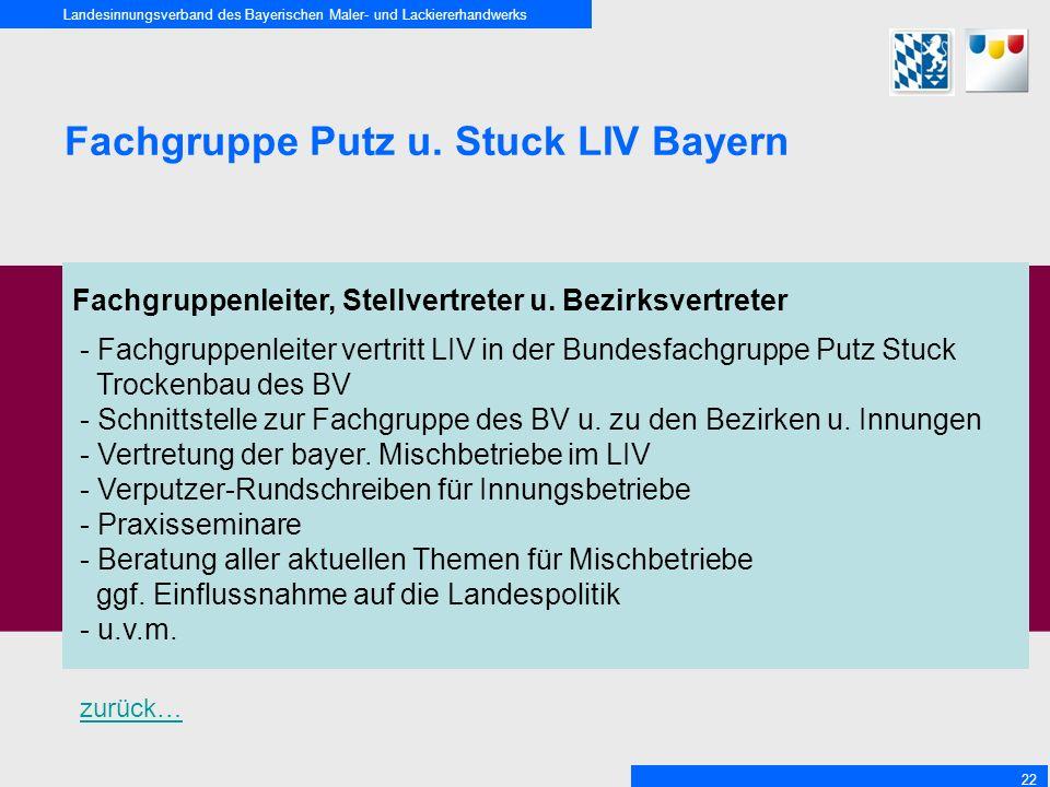 Landesinnungsverband des Bayerischen Maler- und Lackiererhandwerks 22 Fachgruppe Putz u. Stuck LIV Bayern Fachgruppenleiter, Stellvertreter u. Bezirks