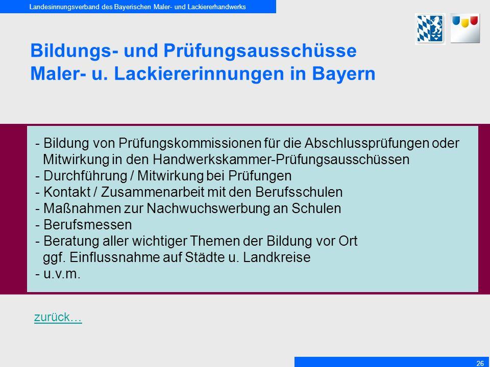 Landesinnungsverband des Bayerischen Maler- und Lackiererhandwerks 26 Bildungs- und Prüfungsausschüsse Maler- u.