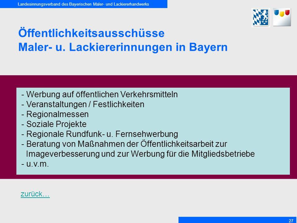 Landesinnungsverband des Bayerischen Maler- und Lackiererhandwerks 27 Öffentlichkeitsausschüsse Maler- u.
