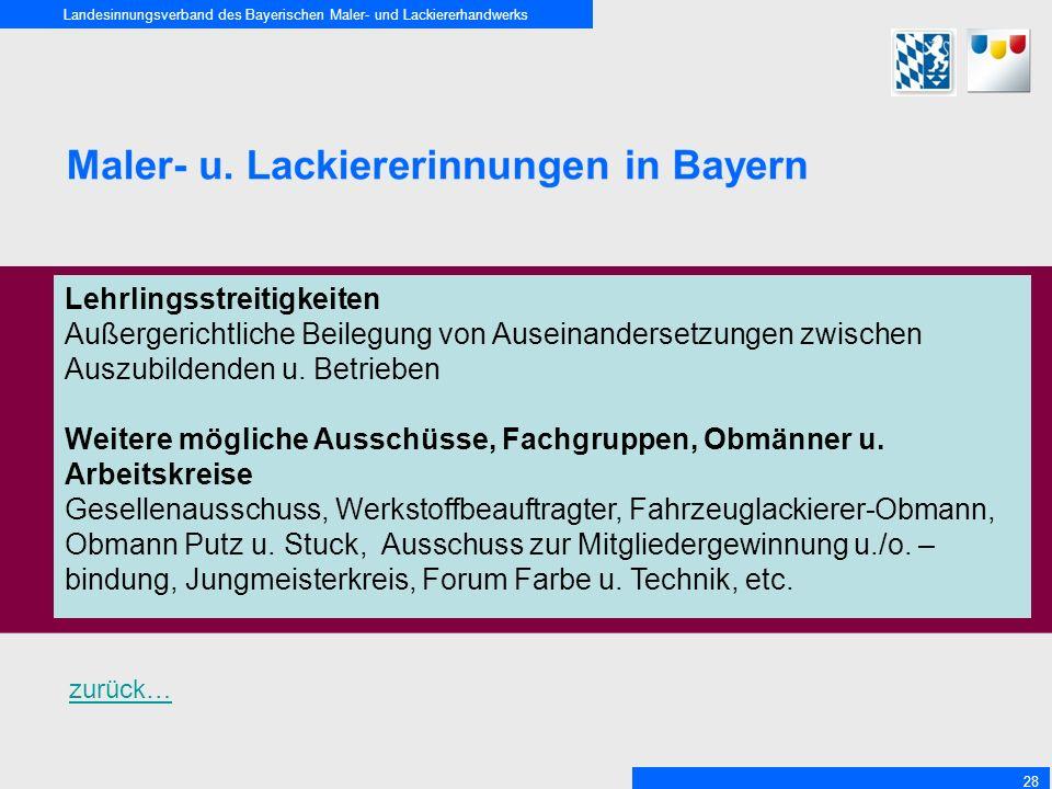 Landesinnungsverband des Bayerischen Maler- und Lackiererhandwerks 28 Lehrlingsstreitigkeiten Außergerichtliche Beilegung von Auseinandersetzungen zwischen Auszubildenden u.