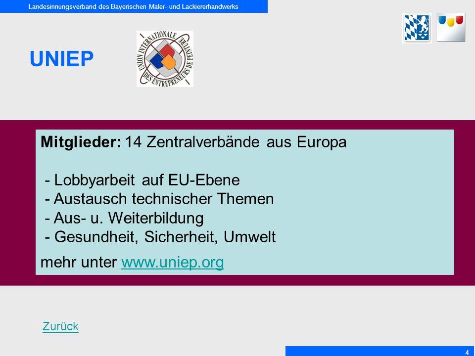 Landesinnungsverband des Bayerischen Maler- und Lackiererhandwerks 4 UNIEP Mitglieder: 14 Zentralverbände aus Europa - Lobbyarbeit auf EU-Ebene - Austausch technischer Themen - Aus- u.