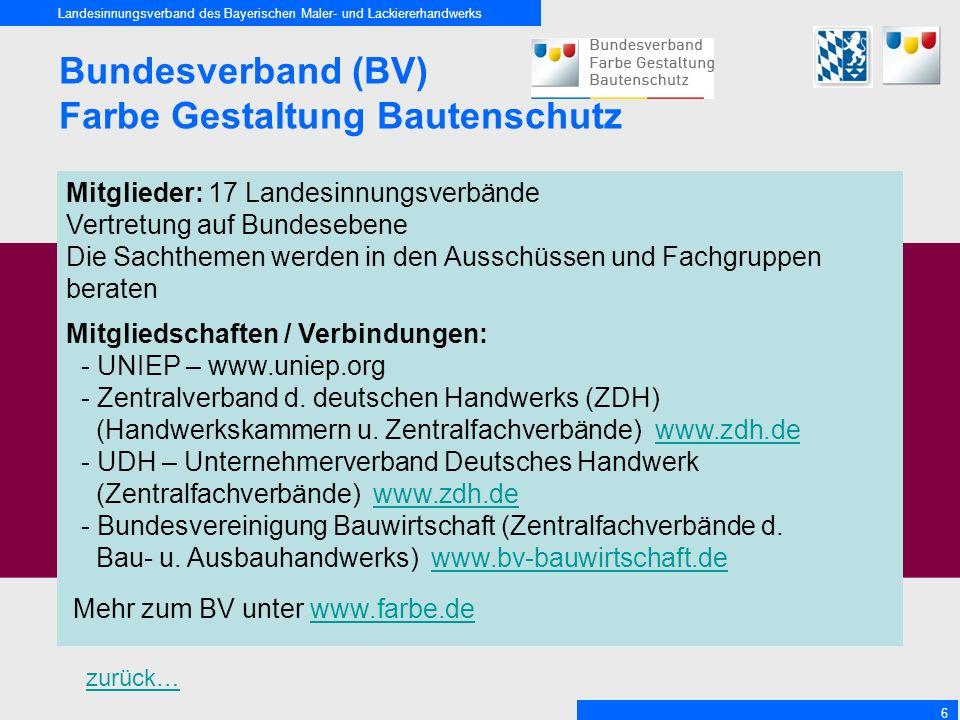 Landesinnungsverband des Bayerischen Maler- und Lackiererhandwerks 6 Bundesverband (BV) Farbe Gestaltung Bautenschutz Mitglieder: 17 Landesinnungsverb