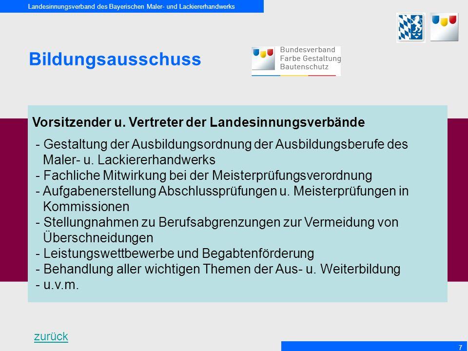 Landesinnungsverband des Bayerischen Maler- und Lackiererhandwerks 7 Bildungsausschuss Vorsitzender u.
