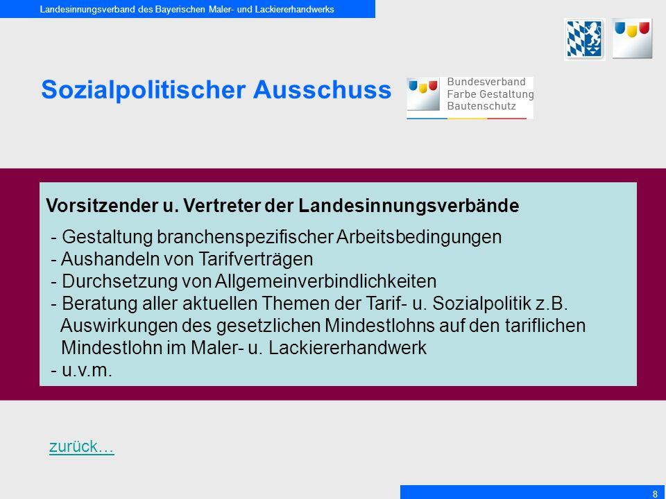 Landesinnungsverband des Bayerischen Maler- und Lackiererhandwerks 8 Sozialpolitischer Ausschuss Vorsitzender u. Vertreter der Landesinnungsverbände -