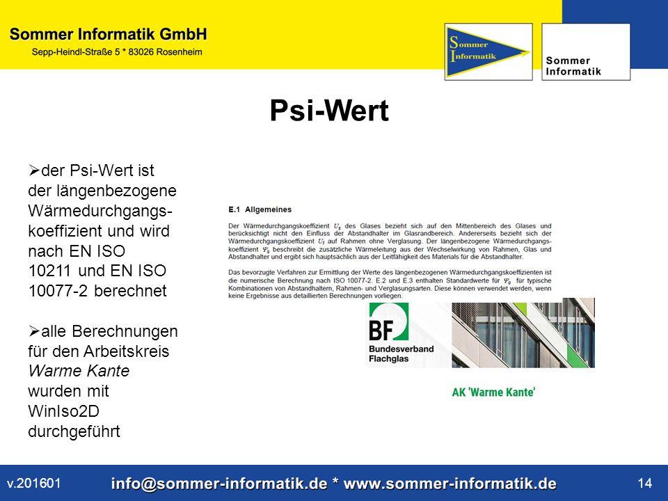 www.sommer-informatik.de 14 Psi-Wert  der Psi-Wert ist der längenbezogene Wärmedurchgangs- koeffizient und wird nach EN ISO 10211 und EN ISO 10077-2 berechnet  alle Berechnungen für den Arbeitskreis Warme Kante wurden mit WinIso2D durchgeführt v.201601