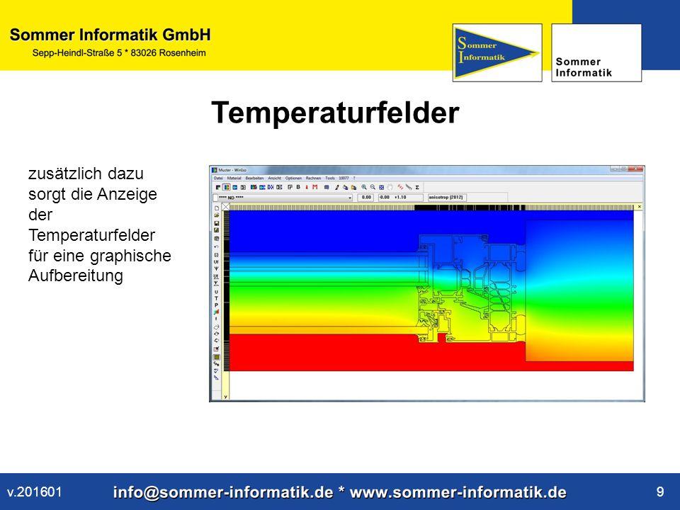 www.sommer-informatik.de 10 Wärmestromfelder Wärmestromfelder zeigen wo das Verbesserungs- potenzial des Bauteils hinsichtlich der Wärmedurchgänge liegt v.201601