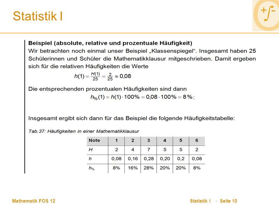 Mathematik FOS 12 Statistik I · Seite 10 Statistik I