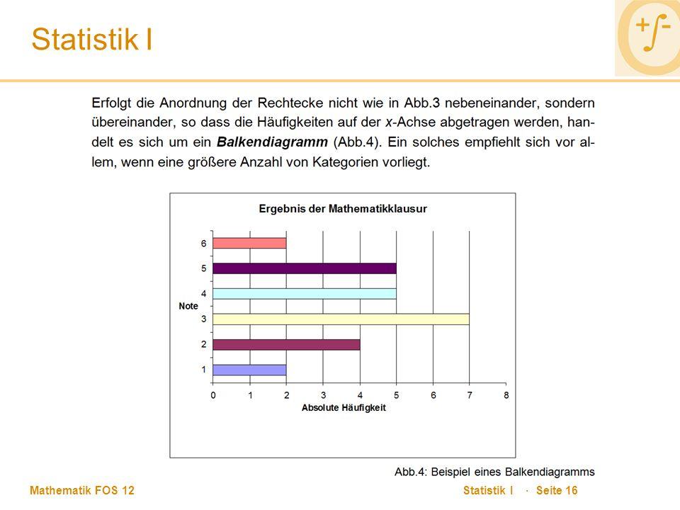 Mathematik FOS 12 Statistik I · Seite 16 Statistik I