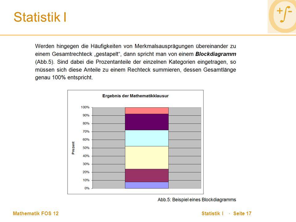 Mathematik FOS 12 Statistik I · Seite 17 Statistik I