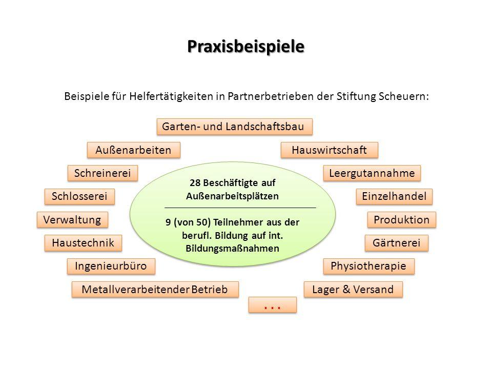 Praxisbeispiele Beispiele für Helfertätigkeiten in Partnerbetrieben der Stiftung Scheuern: 28 Beschäftigte auf Außenarbeitsplätzen 9 (von 50) Teilnehm