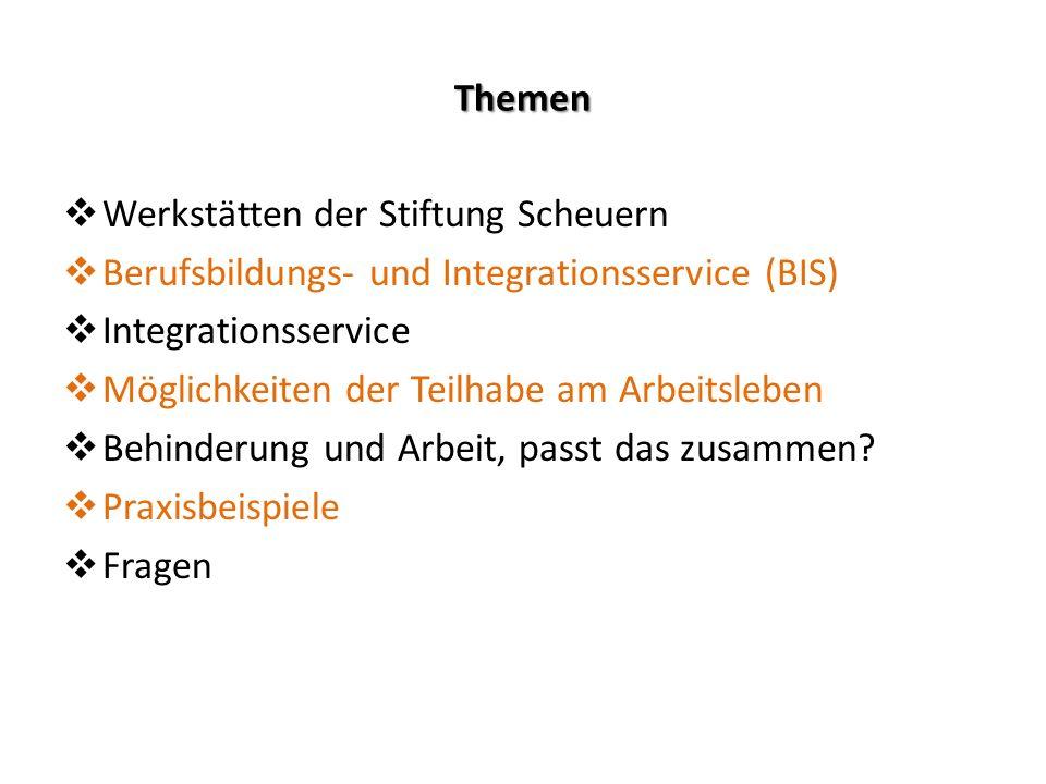Themen  Werkstätten der Stiftung Scheuern  Berufsbildungs- und Integrationsservice (BIS)  Integrationsservice  Möglichkeiten der Teilhabe am Arbei