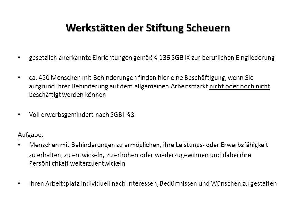 Werkstätten der Stiftung Scheuern gesetzlich anerkannte Einrichtungen gemäß § 136 SGB IX zur beruflichen Eingliederung ca. 450 Menschen mit Behinderun