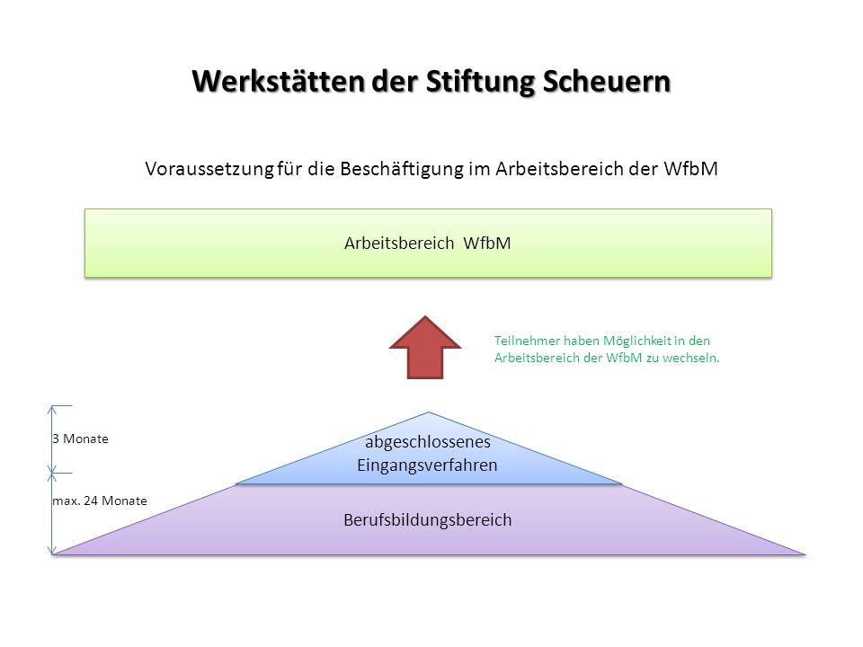 Werkstätten der Stiftung Scheuern Voraussetzung für die Beschäftigung im Arbeitsbereich der WfbM 3 Monate max. 24 Monate Arbeitsbereich WfbM Berufsbil