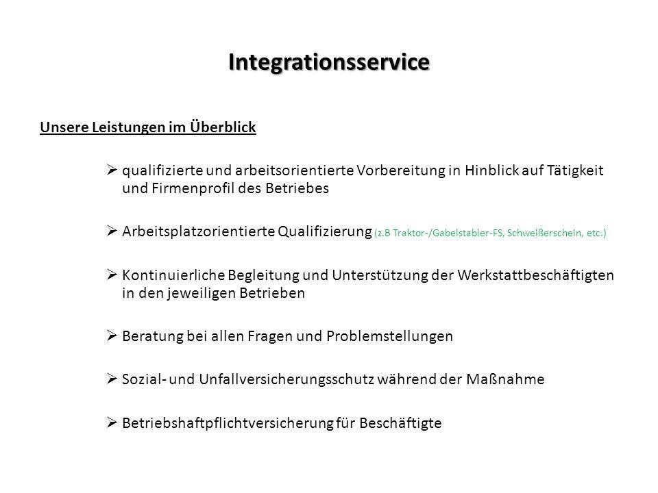 Integrationsservice Unsere Leistungen im Überblick  qualifizierte und arbeitsorientierte Vorbereitung in Hinblick auf Tätigkeit und Firmenprofil des