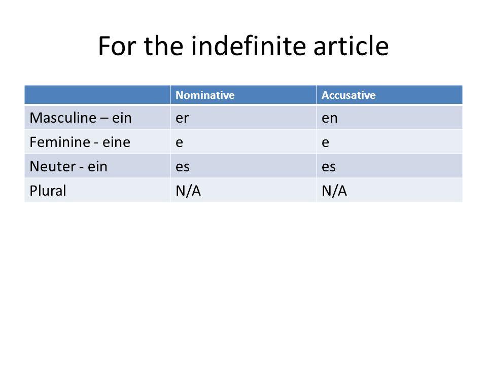 For the indefinite article NominativeAccusative Masculine – eineren Feminine - eineee Neuter - eines PluralN/A