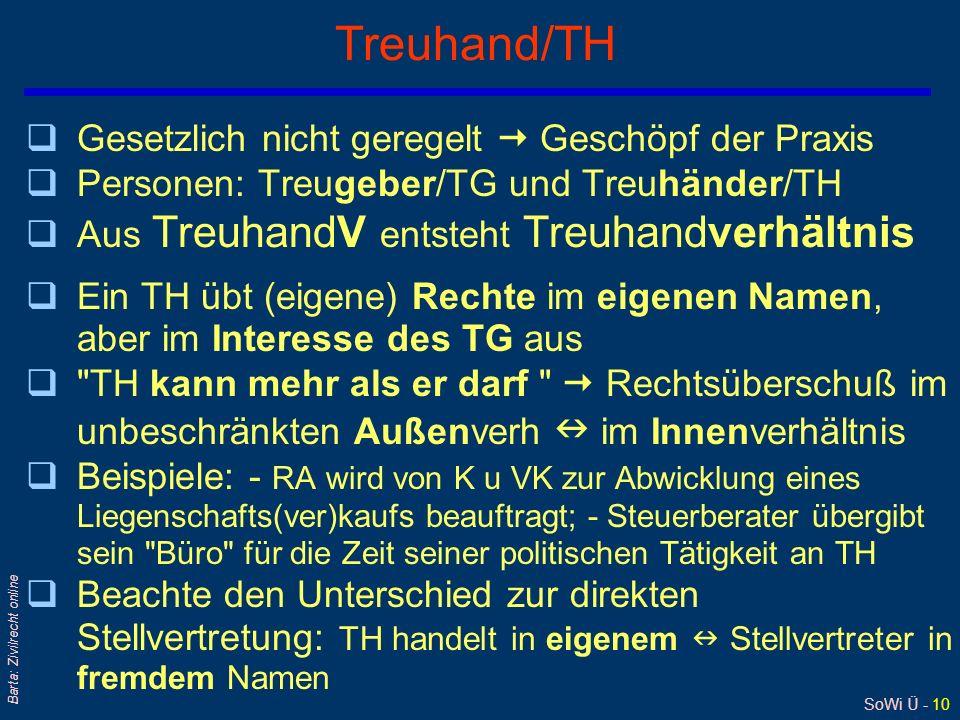 SoWi Ü - 10 Barta: Zivilrecht online Treuhand/TH qGesetzlich nicht geregelt  Geschöpf der Praxis qPersonen: Treugeber/TG und Treuhänder/TH qAus Treuh