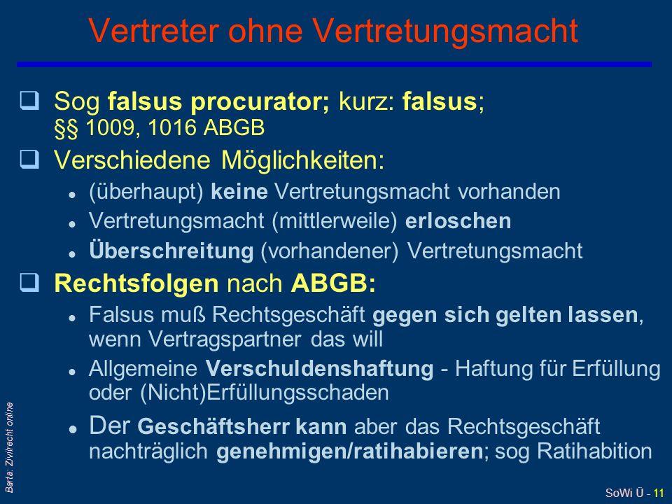 SoWi Ü - 11 Barta: Zivilrecht online Vertreter ohne Vertretungsmacht qSog falsus procurator; kurz: falsus; §§ 1009, 1016 ABGB qVerschiedene Möglichkei
