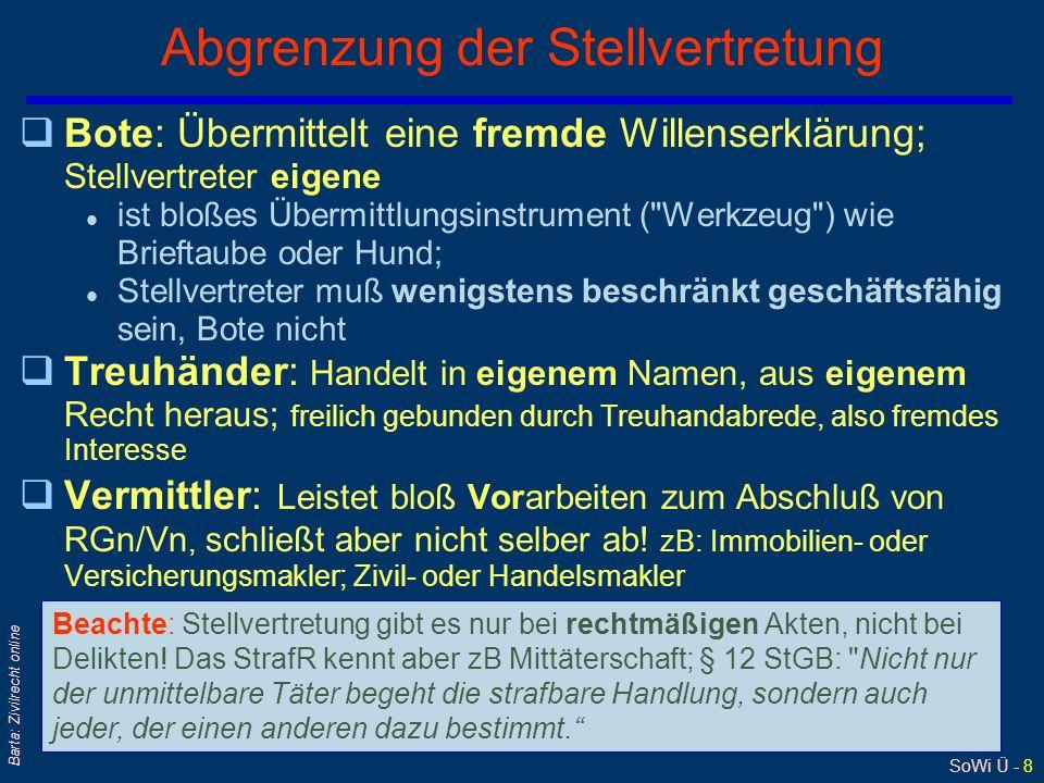 SoWi Ü - 9 Barta: Zivilrecht online Vollmacht - Ermächtigung - Auftrag qVollmacht = rechtliches Handeln-Können (nicht müssen!) l...