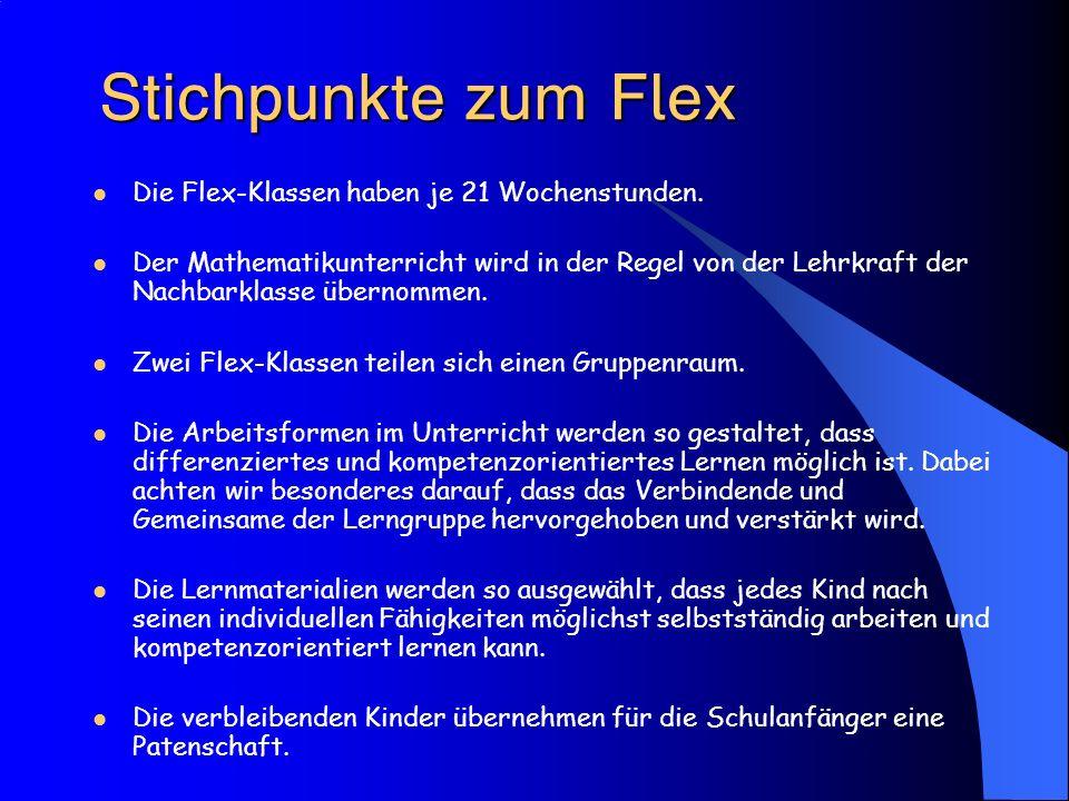  Die Flex-Klassen haben je 21 Wochenstunden. Der Mathematikunterricht wird in der Regel von der Lehrkraft der Nachbarklasse übernomm