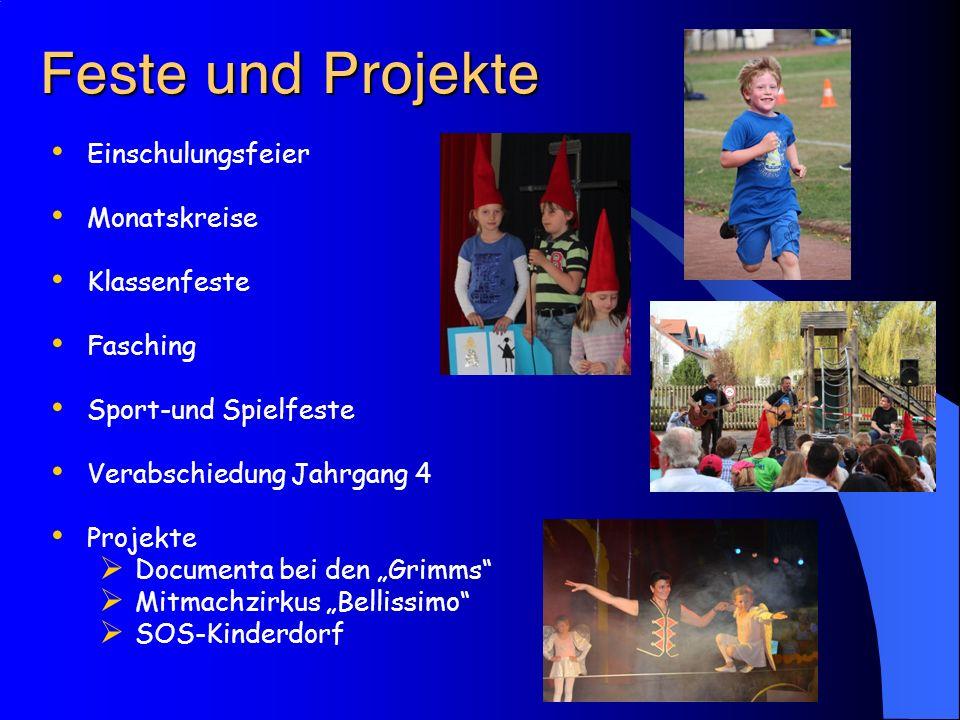 """ Einschulungsfeier Monatskreise Klassenfeste Fasching Sport-und Spielfeste Verabschiedung Jahrgang 4 Projekte  Documenta bei den """"Gr"""