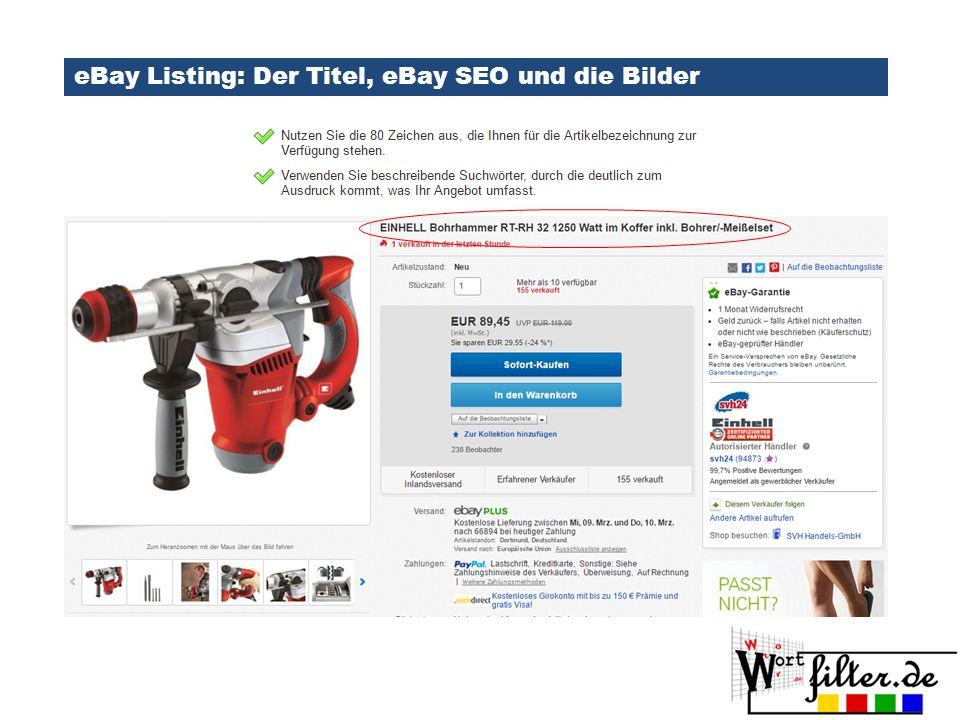 eBay Listing: Der Titel, eBay SEO und die Bilder
