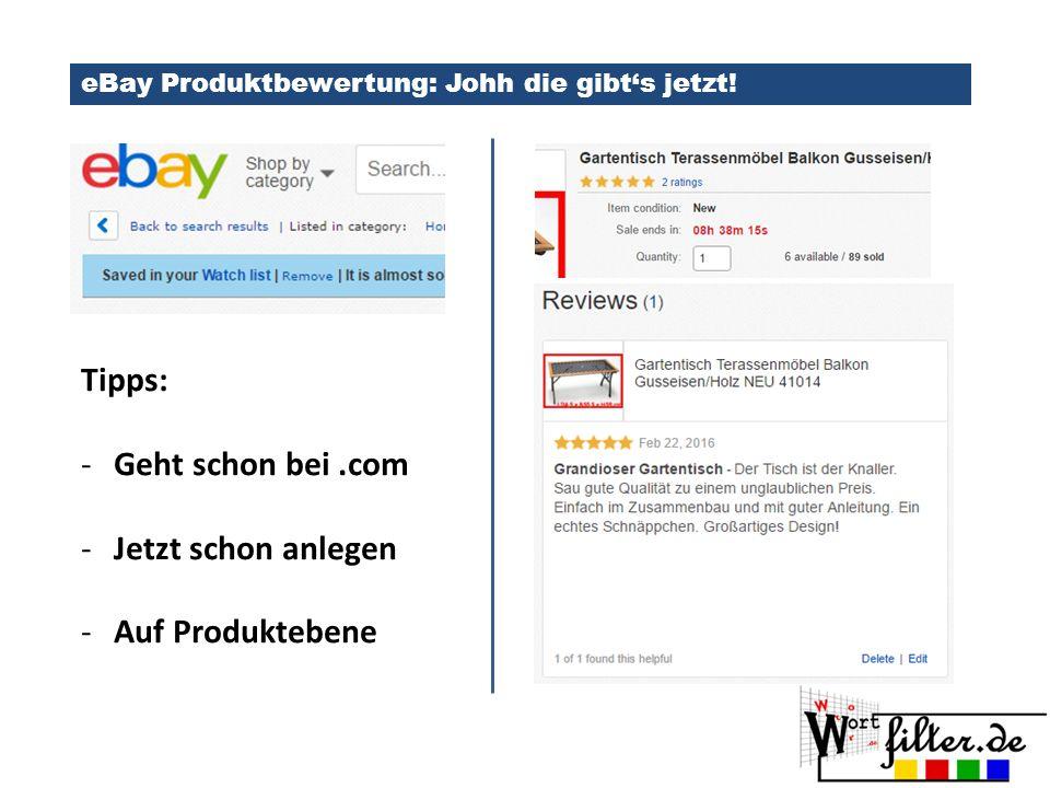 eBay Produktbewertung: Johh die gibt's jetzt.