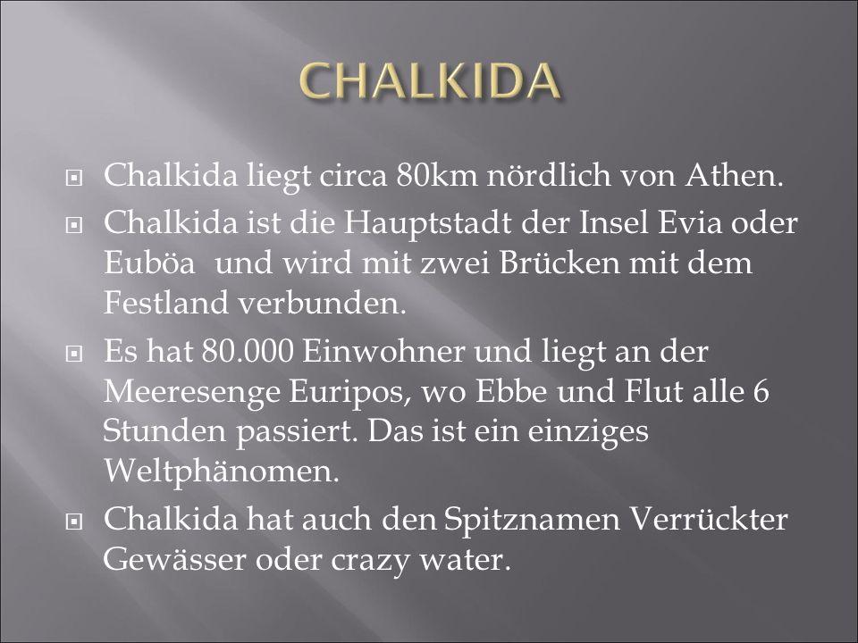  Chalkida liegt circa 80km nördlich von Athen.  Chalkida ist die Hauptstadt der Insel Evia oder Euböa und wird mit zwei Brücken mit dem Festland ver