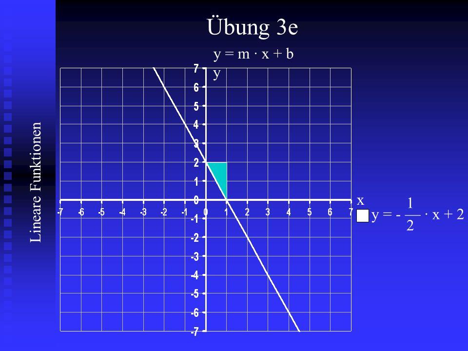 Lineare Funktionen Übung 3e y = m · x + b 1 y = - — · x + 2 2 x y